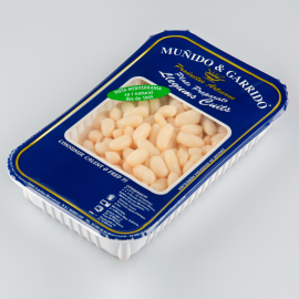 Packaged flat white beans